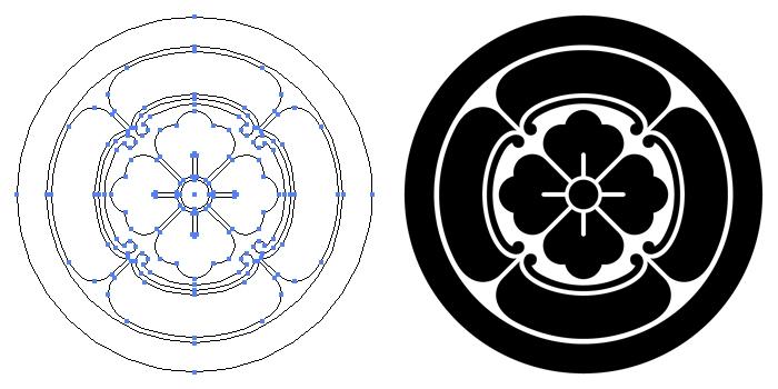 家紋・丸に四方木瓜のプレビュー画像とパス画像