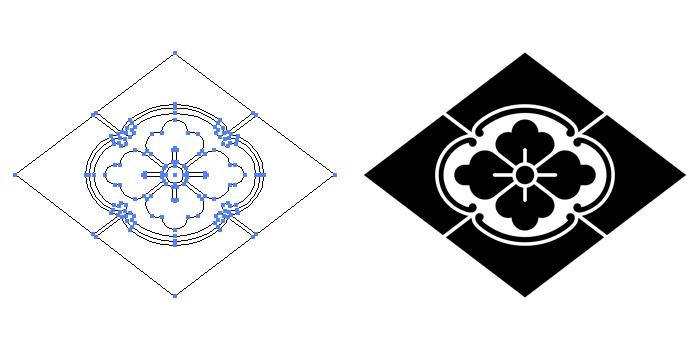 家紋・木瓜菱のプレビュー画像とパス画像