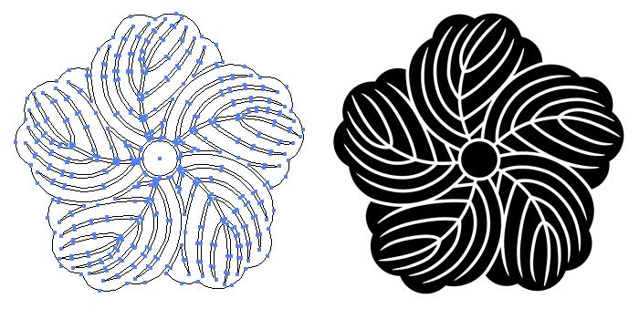 家紋・捻じ蔦のプレビュー画像とパス画像