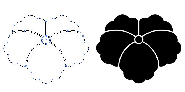 家紋・大割りの蔦のプレビュー画像とパス画像