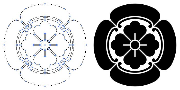 家紋・四方木瓜のプレビュー画像とパス画像
