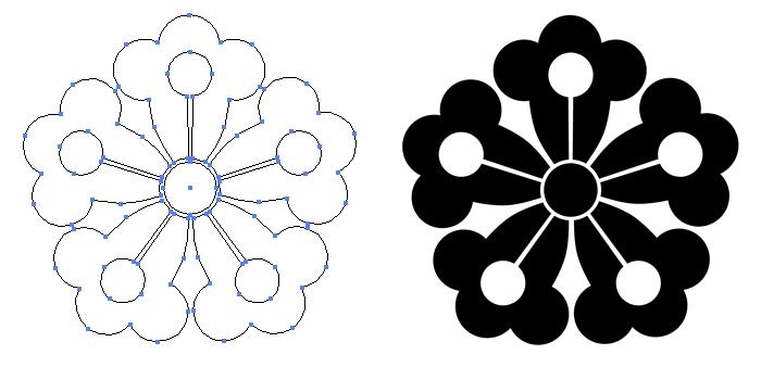 家紋・蔦の花のプレビュー画像とパス画像