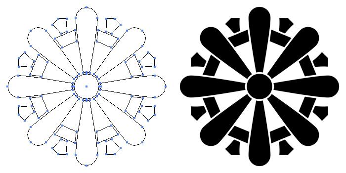 家紋・筆形輪宝のプレビュー画像とパス画像