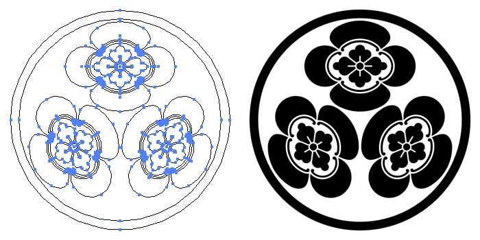 家紋・糸輪に三つ木瓜のプレビュー画像とパス画像