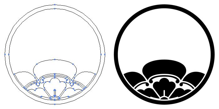 家紋・糸輪に覗き木瓜のプレビュー画像とパス画像
