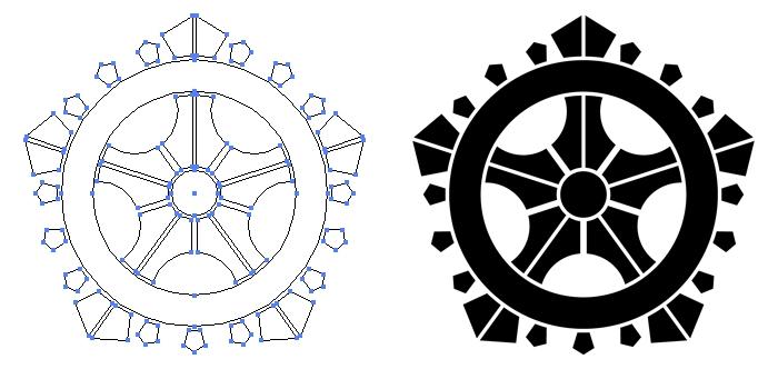 家紋・五つ輪宝のプレビュー画像とパス画像