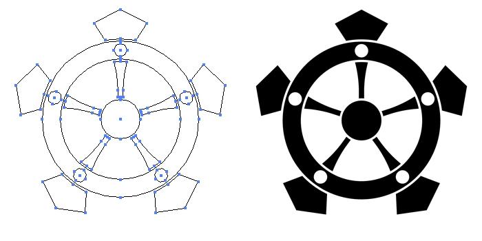 家紋・変わり行者輪宝のプレビュー画像とパス画像