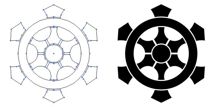 家紋・変わり六つ輪宝のプレビュー画像とパス画像