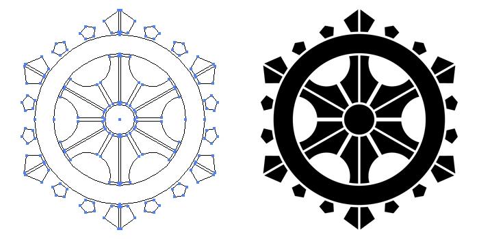 家紋・変わり輪宝のプレビュー画像とパス画像