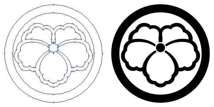家紋・丸に中陰蔦のプレビュー画像とパス画像