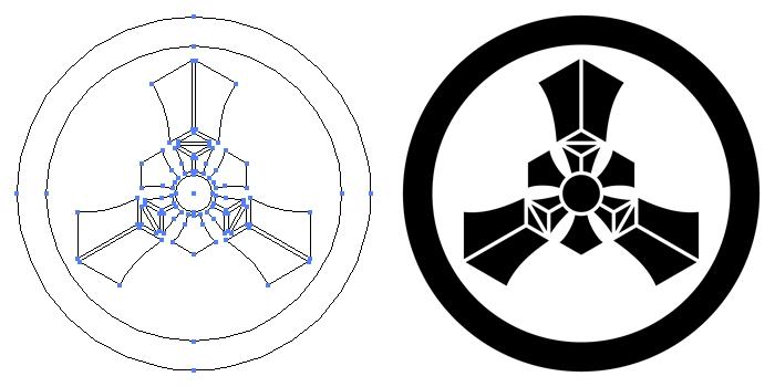 家紋・丸に三つ輪宝のプレビュー画像とパス画像