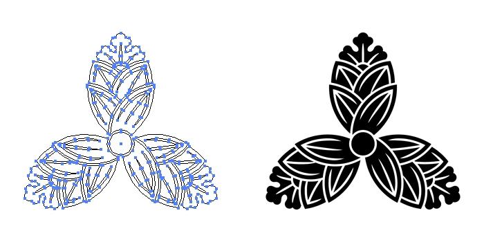 家紋・三つ茗荷のプレビュー画像とパス画像