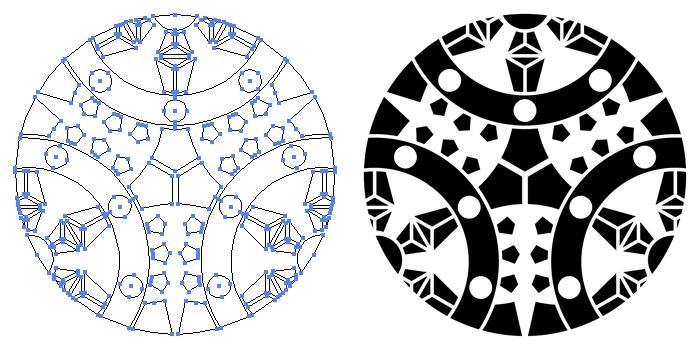 家紋・三つ割り輪宝のプレビュー画像とパス画像