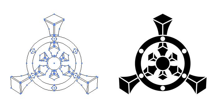 家紋・三つ又輪宝のプレビュー画像とパス画像