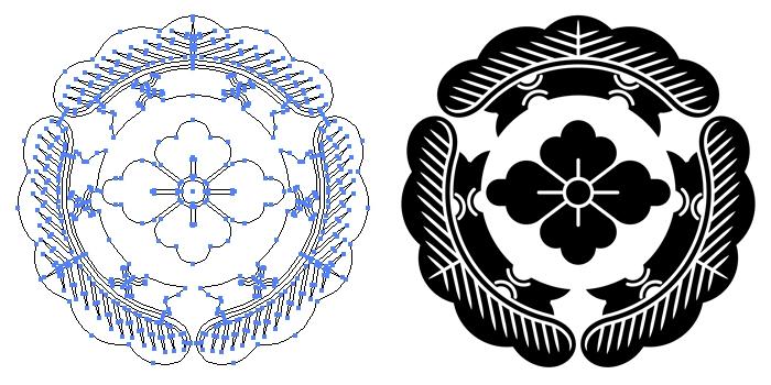 家紋・三つ松に花菱のプレビュー画像とパス画像