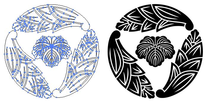 家紋・三つ追い茗荷に蔦のプレビュー画像とパス画像