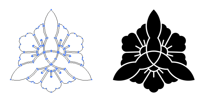 家紋・三つ割り木瓜崩しのプレビュー画像とパス画像