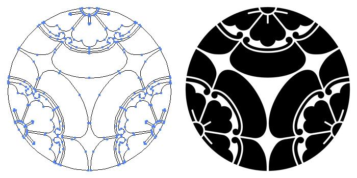 家紋・三つ割り木瓜のプレビュー画像とパス画像