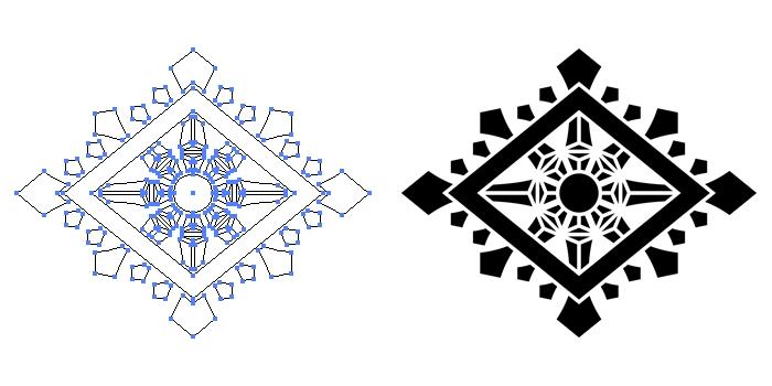 家紋・輪宝菱のプレビュー画像とパス画像