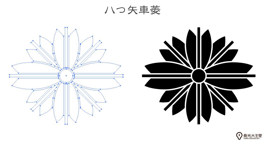 家紋・八つ矢車菱のプレビュー画像とパス画像
