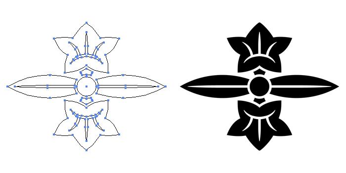 家紋・二葉竜胆のプレビュー画像とパス画像