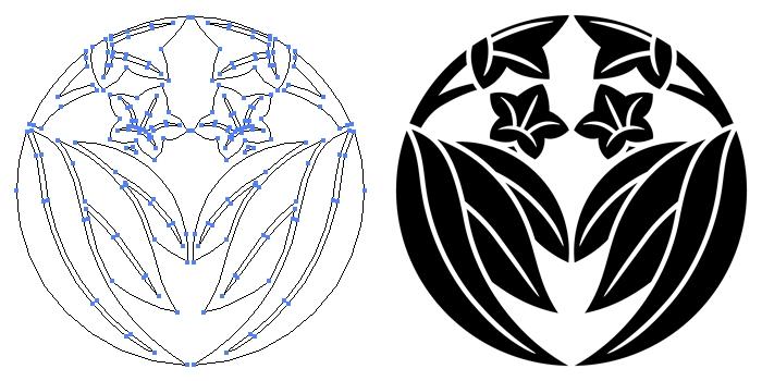 家紋・二つ割り笹竜胆のプレビュー画像とパス画像