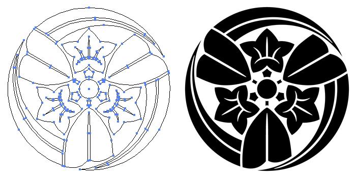 家紋・三つ葉折れ竜胆のプレビュー画像とパス画像