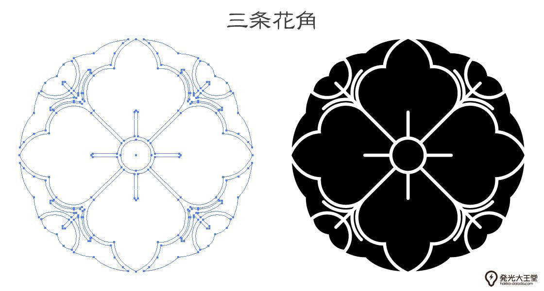家紋・三条花角のプレビュー画像とパス画像