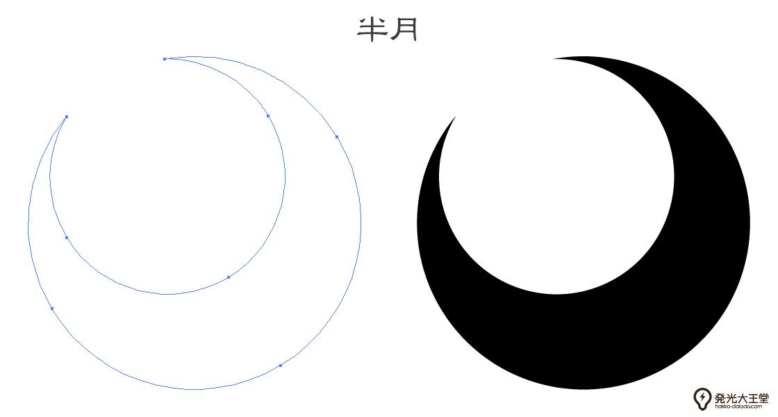 家紋・半月のプレビュー画像とパス画像