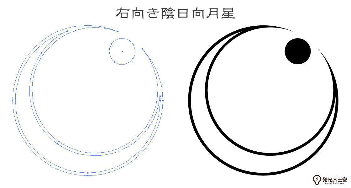 家紋・右向き陰日向月星のプレビュー画像とパス画像