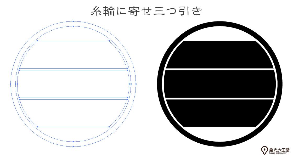 家紋・糸輪に寄せ三つ引きのプレビュー画像とパス画像
