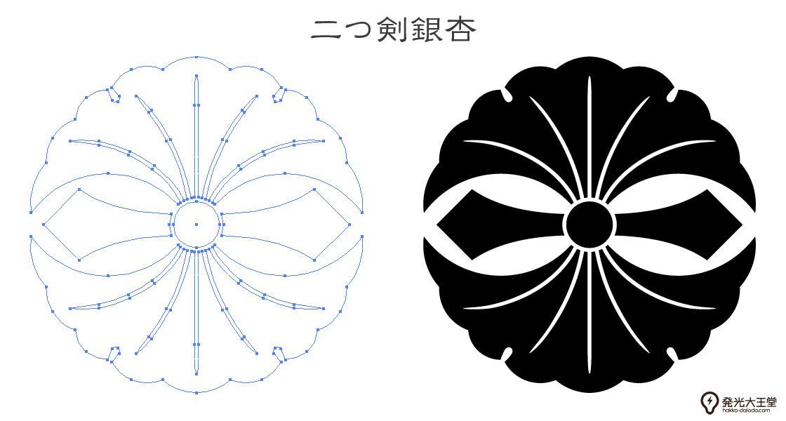 家紋・二つ剣銀杏のプレビュー画像とパス画像