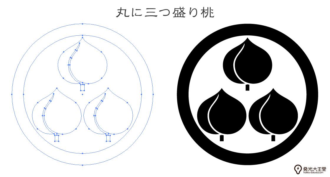 家紋・丸に三つ盛り桃のプレビュー画像とパス画像