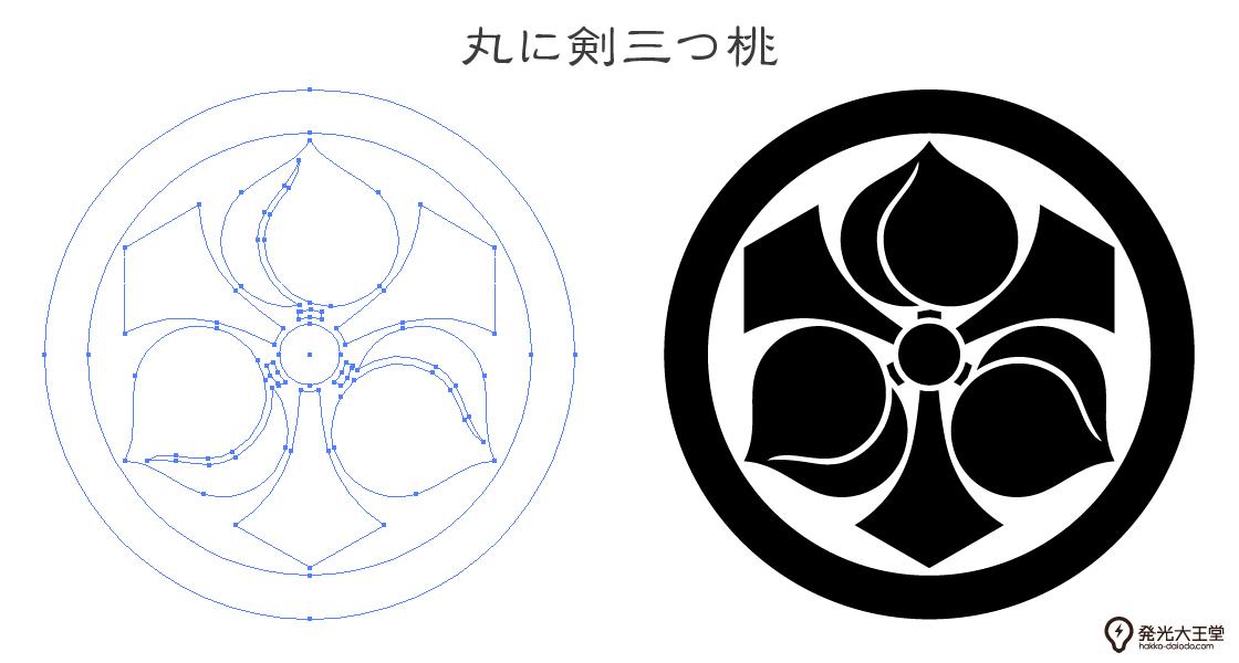 家紋・丸に剣三つ桃のプレビュー画像とパス画像