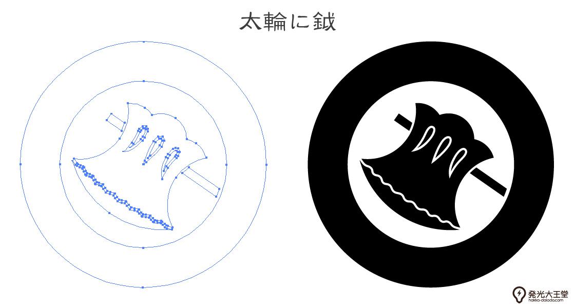 家紋・太輪に鉞のプレビュー画像とパス画像