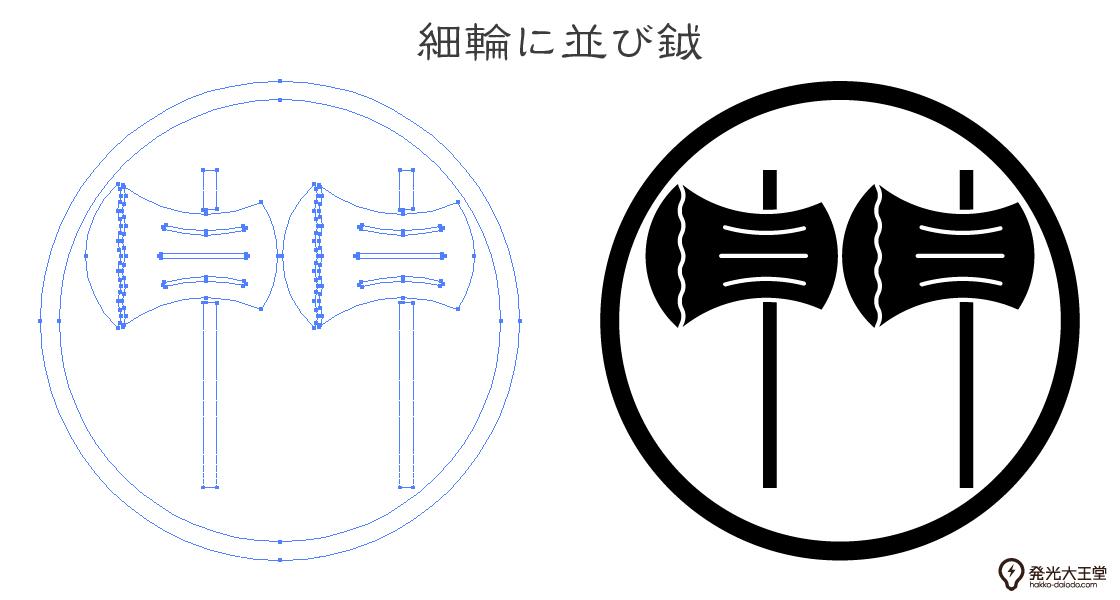 家紋・細輪に並び鉞のプレビュー画像とパス画像