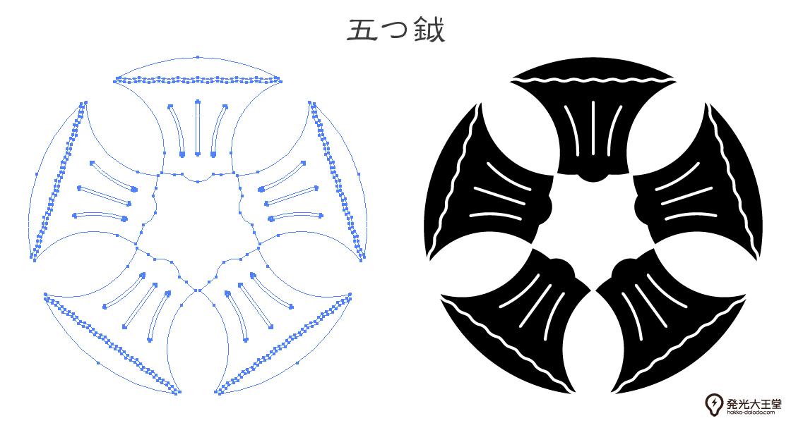 家紋・五つ鉞のプレビュー画像とパス画像