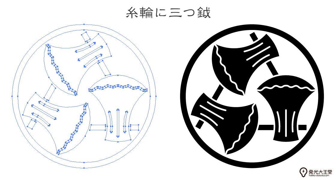 家紋・糸輪に三つ鉞のプレビュー画像とパス画像