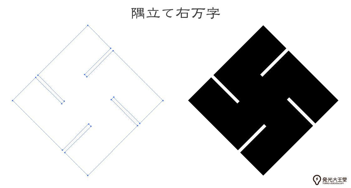 家紋・隅立て右万字のプレビュー画像とパス画像