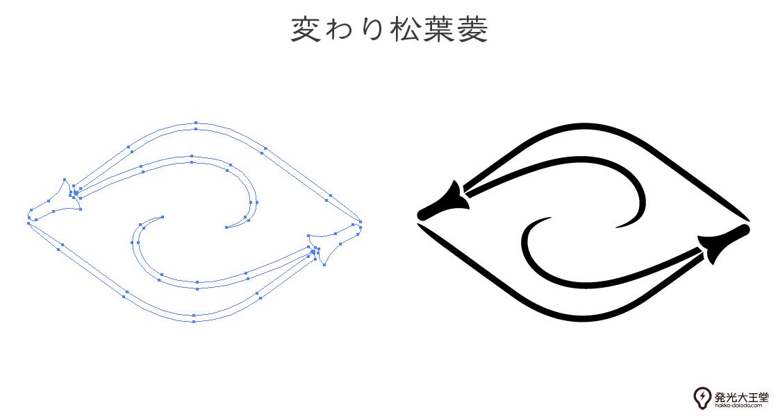 家紋・変わり松葉菱のプレビュー画像とパス画像