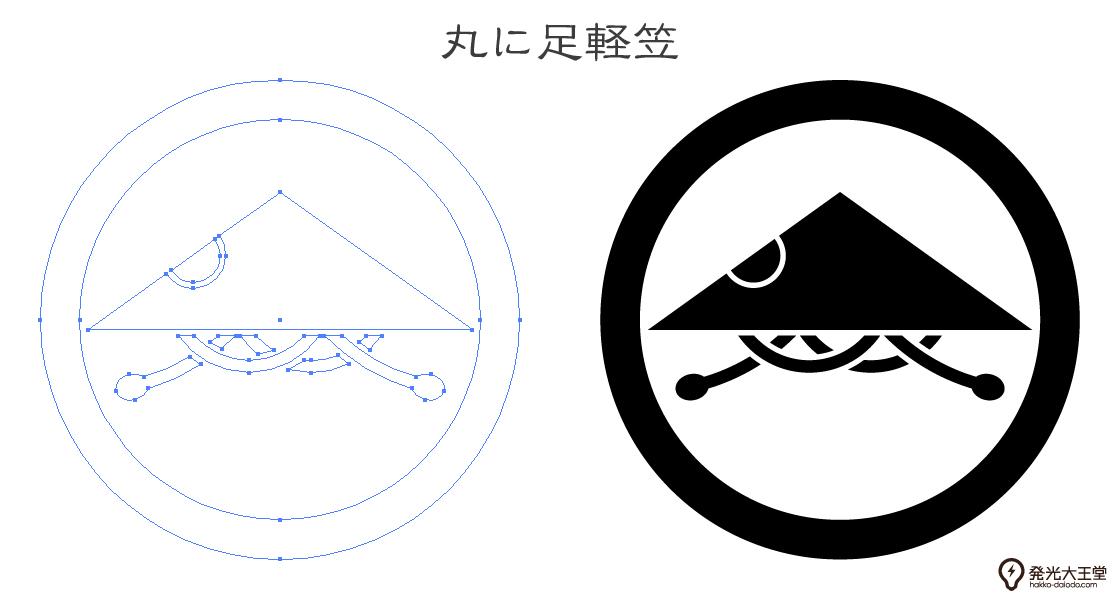 家紋・丸に足軽笠のプレビュー画像とパス画像