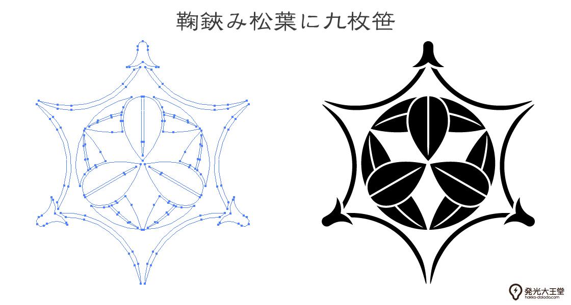 家紋・鞠鋏み松葉に九枚笹のプレビュー画像とパス画像
