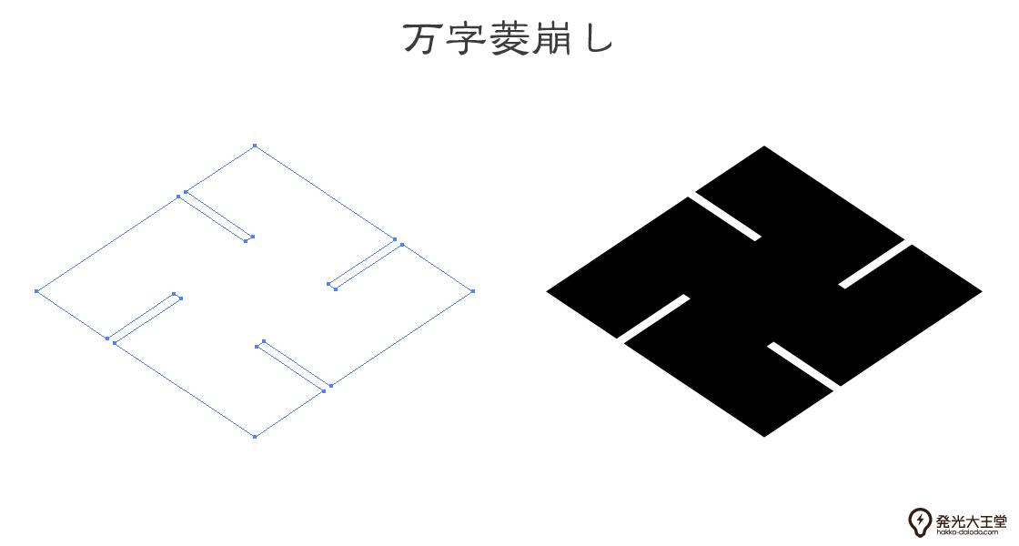 家紋・万字菱崩しのプレビュー画像とパス画像