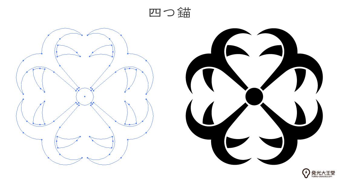 家紋・四つ錨のプレビュー画像とパス画像