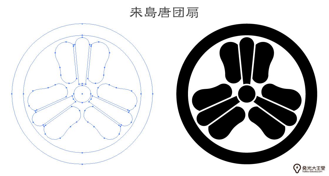 家紋・来島唐団扇のプレビュー画像とパス画像