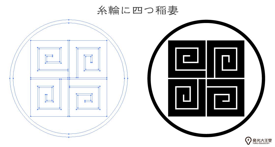 家紋・糸輪に四つ稲妻のプレビュー画像とパス画像