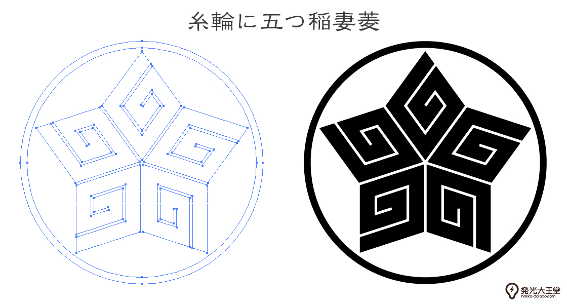 家紋・糸輪に五つ稲妻菱のプレビュー画像とパス画像